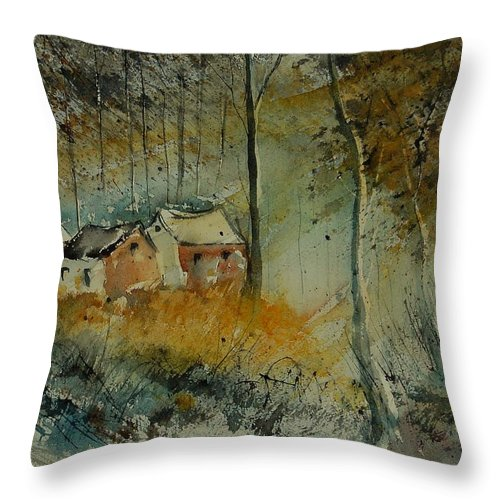 Landscape Throw Pillow featuring the painting Watercolor 900170 by Pol Ledent