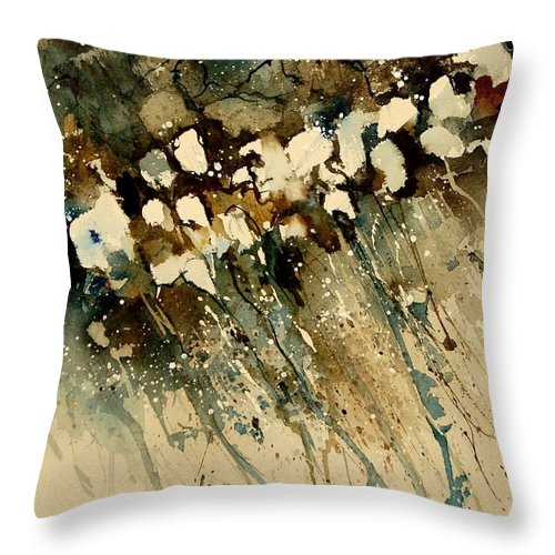 Abstract Throw Pillow featuring the painting Watercolor 901140 by Pol Ledent