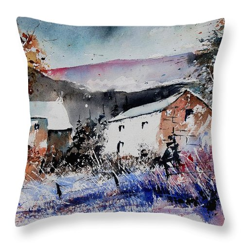 Winter Throw Pillow featuring the painting Watercolor 902080 by Pol Ledent