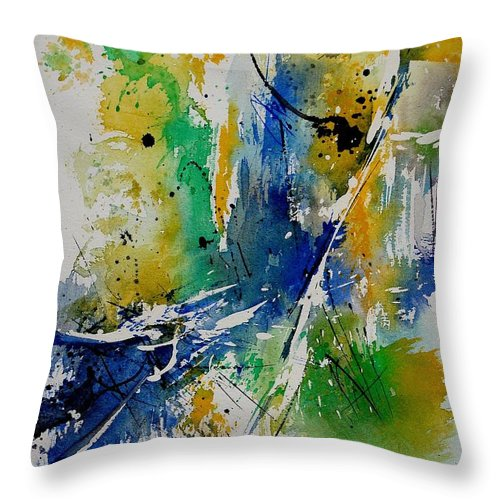 Abstract Throw Pillow featuring the painting Watercolor 902180 by Pol Ledent