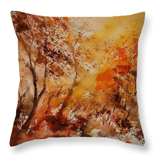 Tree Throw Pillow featuring the painting Watercolor 903071 by Pol Ledent