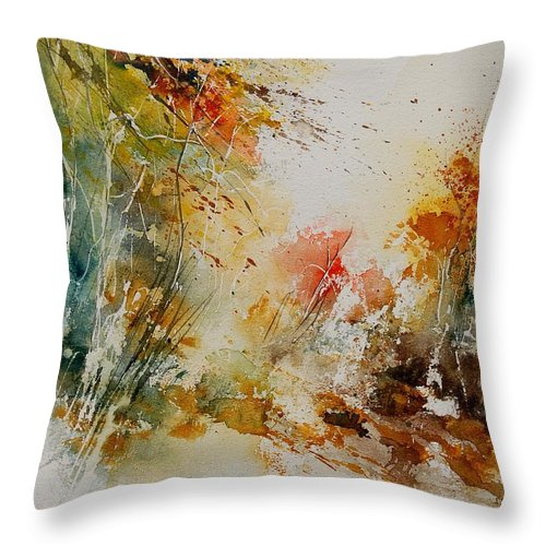 Tree Throw Pillow featuring the painting Watercolor 905022 by Pol Ledent