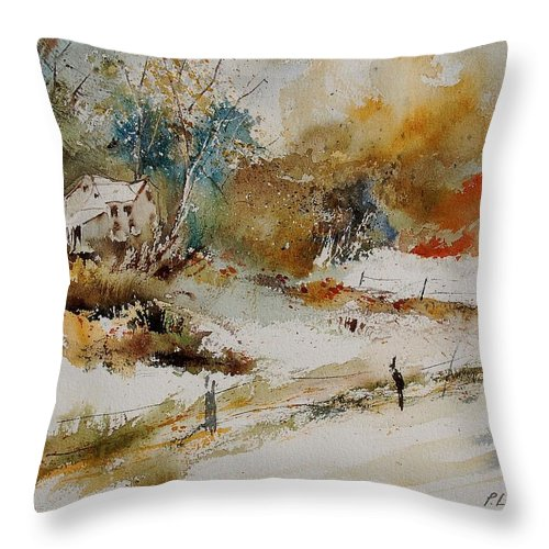 Tree Throw Pillow featuring the painting Watercolor 905061 by Pol Ledent