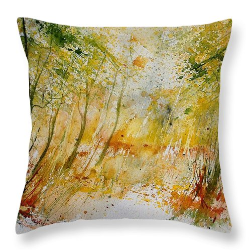 Tree Throw Pillow featuring the painting Watercolor 908012 by Pol Ledent