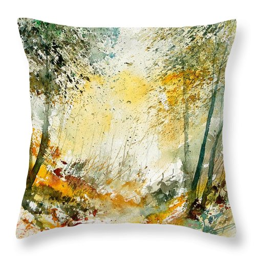 Tree Throw Pillow featuring the painting Watercolor 908021 by Pol Ledent