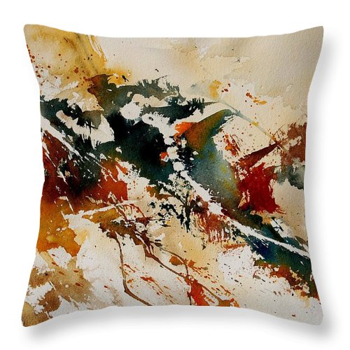 Abstract Throw Pillow featuring the painting Watercolor 90861 by Pol Ledent
