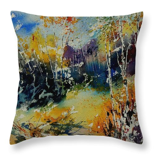 Tree Throw Pillow featuring the painting Watercolor 909052 by Pol Ledent