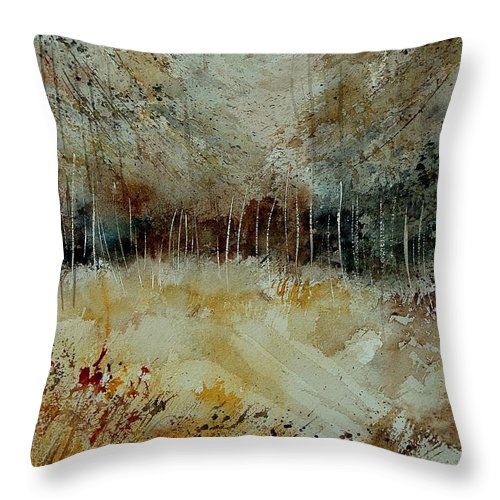 Tree Throw Pillow featuring the painting Watercolor 9090722 by Pol Ledent