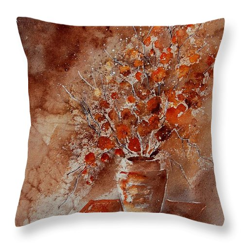 Poppies Throw Pillow featuring the painting Watercolor Autumn Bunch by Pol Ledent