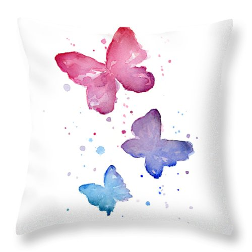 Watercolor Throw Pillow featuring the painting Watercolor Butterflies by Olga Shvartsur