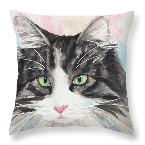 My Mater Cat Throw Pillow featuring the painting Watercolor Cat 13 My Master by Kathleen Wong