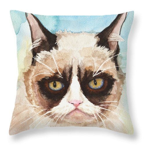 Sorrowful Cat Throw Pillow featuring the painting Watercolor Cat 14 Sorrowful Cat by Kathleen Wong