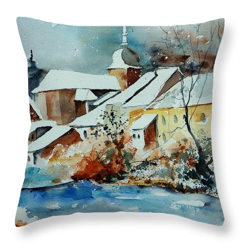 Landscape Throw Pillow featuring the painting Watercolor Chassepierre by Pol Ledent