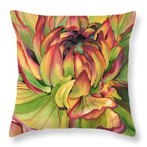 Dahlia Throw Pillow featuring the painting Watercolor Dahlia by Angela Armano