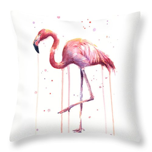 Watercolor Flamingo Throw Pillow featuring the painting Watercolor Flamingo by Olga Shvartsur