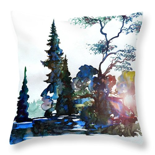Watercolor Throw Pillow featuring the painting Watercolor Forest And Pond by Curtiss Shaffer