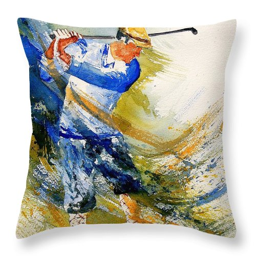 Golf Throw Pillow featuring the painting Watercolor Golf Player by Pol Ledent