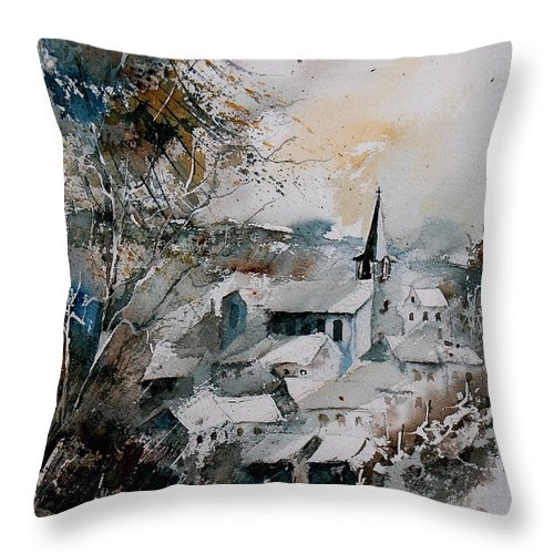 Winter Throw Pillow featuring the painting Watercolor Houyet by Pol Ledent