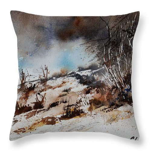 River Throw Pillow featuring the painting Watercolor Jjook by Pol Ledent