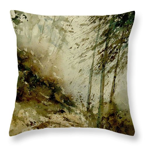 Landscape Throw Pillow featuring the painting Watercolor Misty Atmosphere by Pol Ledent