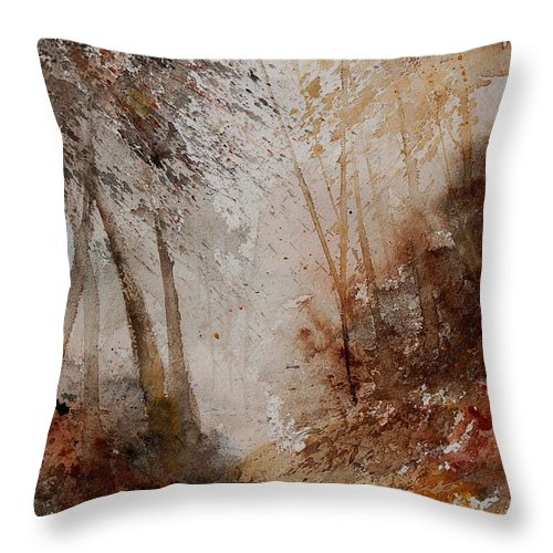 Landscape Throw Pillow featuring the painting Watercolor Misty Path by Pol Ledent