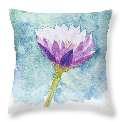 Flower Throw Pillow featuring the painting Watercolor Of Lotus Flower. by Noppanun Kunjai