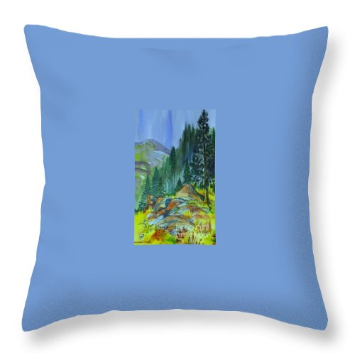 Watercolor Of Forest In Mountains Throw Pillow featuring the painting Watercolor of Mountain Forest by Annie Gibbons