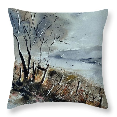 Landscape Throw Pillow featuring the painting Watercolor by Pol Ledent