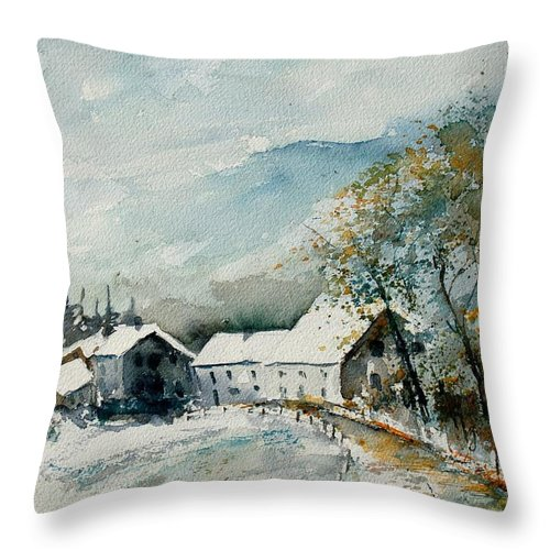 River Throw Pillow featuring the painting Watercolor Sechery 1207 by Pol Ledent