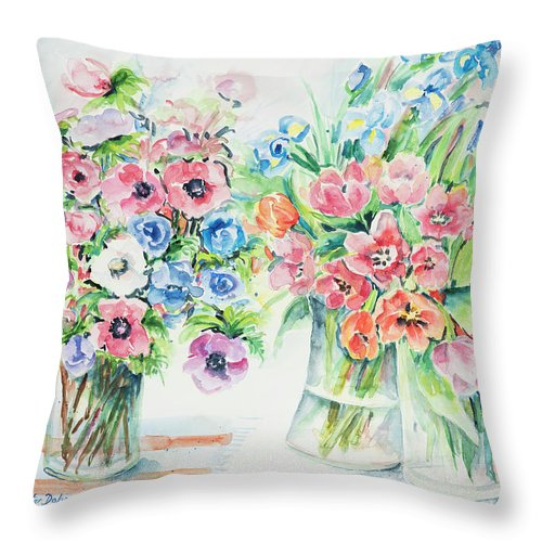 Flowers Throw Pillow featuring the painting Watercolor Series 154 by Ingrid Dohm