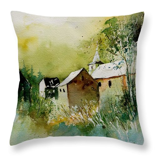 Landscape Throw Pillow featuring the painting Watercolor Sosoye by Pol Ledent