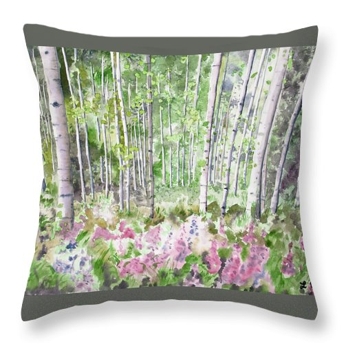 Aspen Throw Pillow featuring the painting Watercolor - Summer Aspen Glade by Cascade Colors