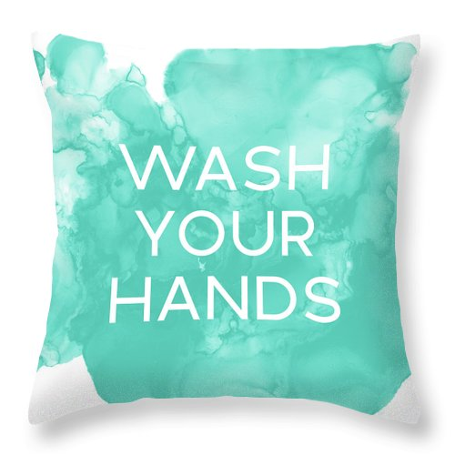 Watercolor Throw Pillow featuring the mixed media Watercolor Wash Your Hands- Art By Linda Woods by Linda Woods