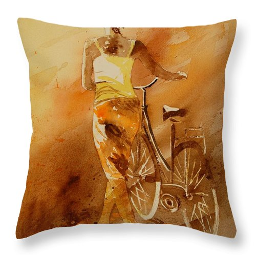 Figurative Throw Pillow featuring the painting Watercolor With My Bike by Pol Ledent