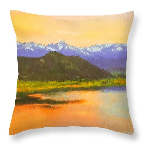 Watercolor Throw Pillow featuring the digital art Watercolored Sunset by Rick Wicker