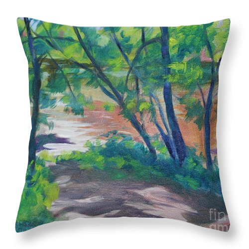 Landscape Throw Pillow featuring the painting Watercress Beach on the Current River  by Jan Bennicoff