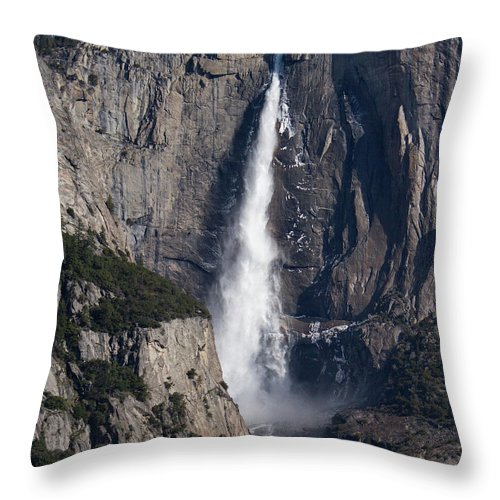Waterfall Throw Pillow featuring the photograph Waterfall 2 Color by Cheryl Del Toro
