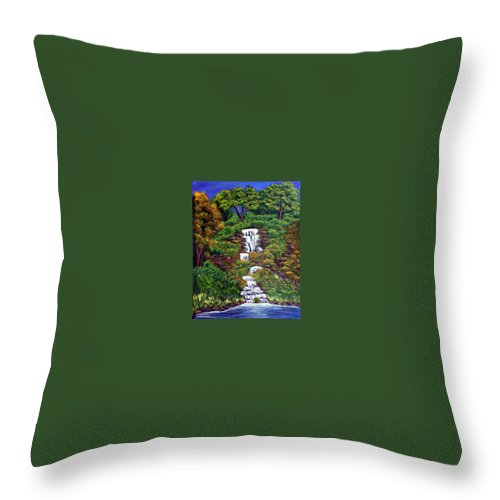 Waterfall Throw Pillow featuring the painting Waterfall by Dawn Blair