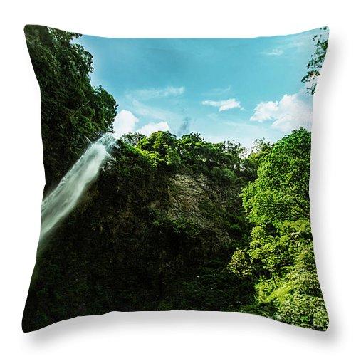Waterfall Throw Pillow featuring the photograph Waterfall by Faizal Fahmi