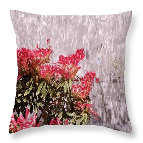 Waterfall Throw Pillow featuring the photograph Waterfall Flowers by Tim Allen