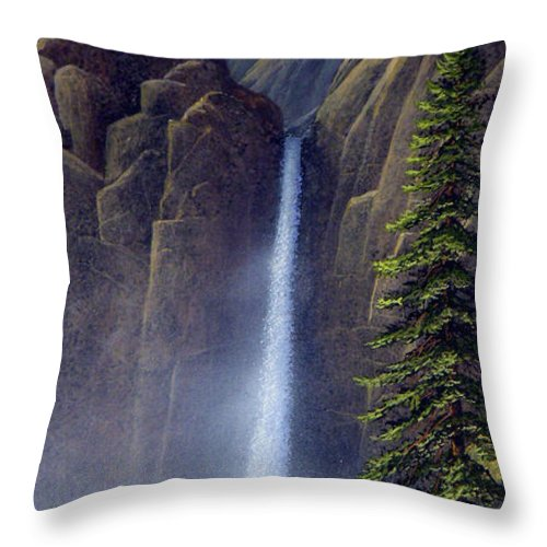 Wilderness Throw Pillow featuring the painting Waterfall by Frank Wilson