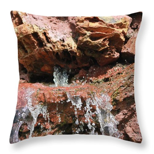 Landscape Throw Pillow featuring the photograph Waterfall by Munashe Mushunje