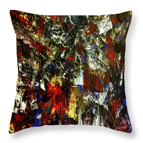 Waterfall Throw Pillow featuring the painting Waterfall Of Wishes In Red by Nina Nabokova