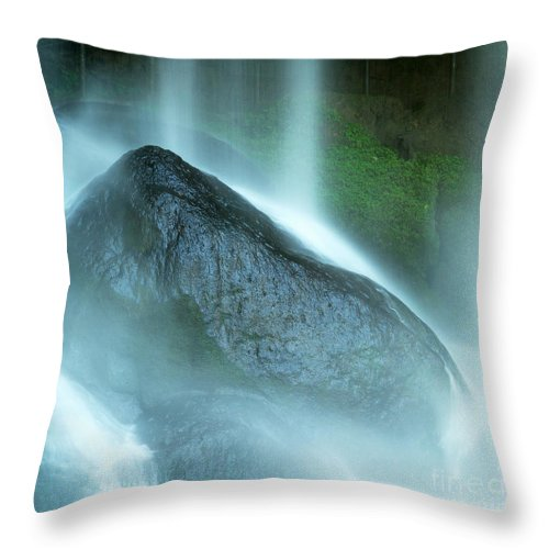 Misol Ha Throw Pillow featuring the photograph Waterfall On Rocks At Misol Ha by Tim Hester