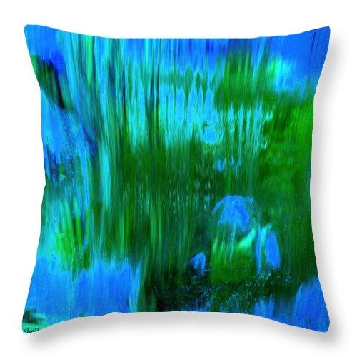 Digital Art Throw Pillow featuring the digital art Waterfall by Shelley Jones