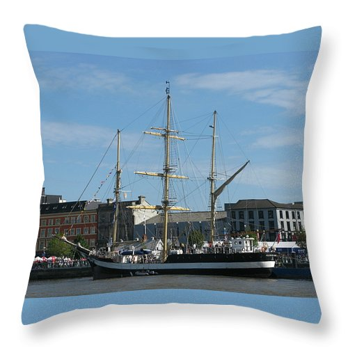 Tall Ship Throw Pillow featuring the photograph Waterford Harbour July 2011 by Maria Joy