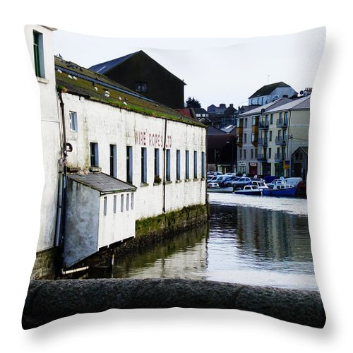 River Throw Pillow featuring the photograph Waterfront Factory by Tim Nyberg