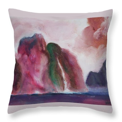 Abstract Painting Throw Pillow featuring the painting Waterfull by Suzanne Udell Levinger