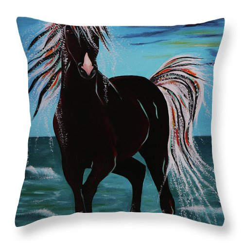 Horse Throw Pillow featuring the painting Waterhorse by Nicole Paquette