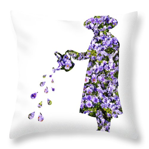 Young Throw Pillow featuring the photograph Watering Flowers by Amanda Elwell